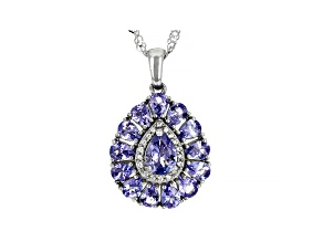 Blue Tanzanite Rhodium Over Sterling Silver Pendant With Chain 2.65ctw