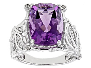 Purple Amethyst Rhodium Over Sterling Silver Ring 5.79ctw