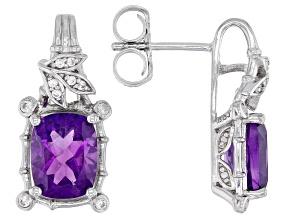 Purple Amethyst Rhodium Over Sterling Silver Earrings 3.63ctw