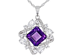 Purple Amethyst Rhodium Over Silver Pendant With Chain 6.04ctw