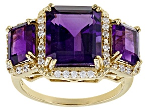 Purple African Amethyst 18k Yellow Gold Over Sterling Silver Ring 5.91ctw