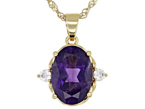 Purple Amethyst 18k Yellow Gold Over Sterling Silver Pendant With Chain 4.81ctw