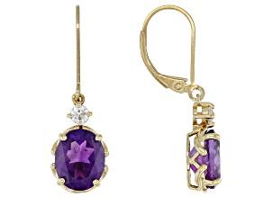 Purple Amethyst  18k Yellow Gold Over Sterling Silver Earrings 4.57ctw
