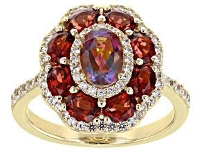Multi-Color Northern Lights ™ Quartz 18K Yellow Gold Over Sterling Silver Ring 2.83ctw
