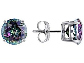 Multicolor Mystic Quartz™ Rhodium Over Sterling Silver Solitaire Stud Earrings 5.58ctw