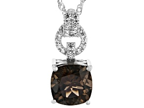 Brown Smoky Quartz Rhodium Over Sterling Silver Pendant With Chain 4.73ctw