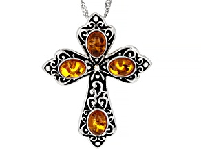 Orange Amber Rhodium Over Sterling Silver Cross Pendant With Chain 4x5mm