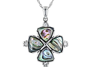 Multicolor Trillion Abalone Shell Rhodium Over Sterling Silver Pendant With Chain 0.40ctw