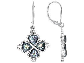 Multi-Color Abalone Shell Rhodium Over Sterling Silver Dangle Earrings 0.27ctw