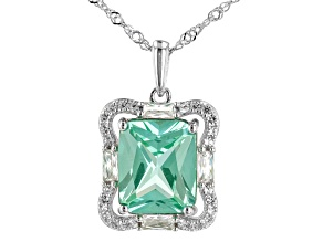 Green Lab Created Spinel Rhodium Over Silver Pendant Chain 6.95ctw