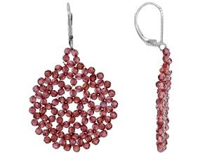 Red Vermelho(TM) Garnet Rhodium Over Sterling Silver Beaded Earrings