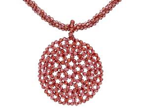 Red Vermelho(TM) Garnet Rhodium Over Sterling Silver Beaded Necklace