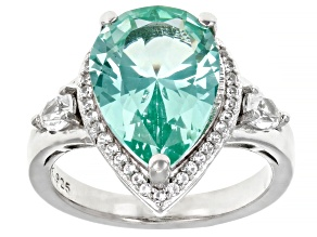 Green Lab Created Spinel Rhodium Over Sterling Silver Ring 5.46ctw