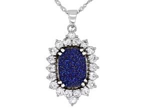Blue Drusy Quartz Rhodium Over Sterling Silver Pendant With Chain 2.55ctw