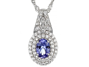Blue Tanzanite Rhodium Over Sterling Silver Pendant With Chain 1.05ctw