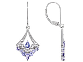 Blue Mixed Shape Tanzanite Rhodium Over Sterling Silver Earrings 1.08ctw