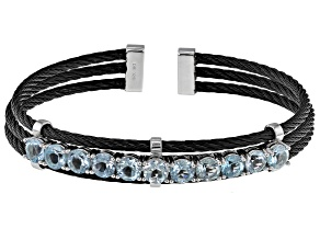 Sky Blue Topaz Sterling Silver With Black Stainless Steel Cable Cuff Bracelet 5.80ctw