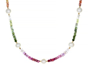 Multicolor Sapphire 18K Yellow Gold Over Silver Necklace