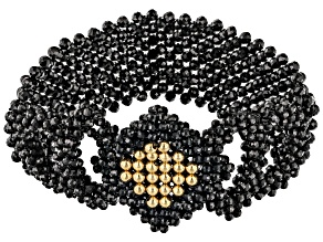 Black Spinel 18K Yellow Gold Over Sterling Silver Strechable Beaded Bracelet
