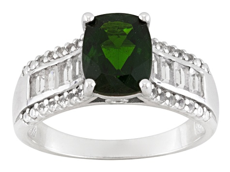 Green Russian Chrome Diopside And White Topaz Sterling Silver Ring 1.95ctw.