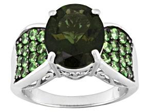 Green Moldavite Silver Ring 3.80ctw