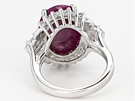 Red indian Ruby And White Topaz Sterling Silver Ring 11.53ctw