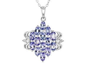 Blue Tanzanite Sterling Silver Pendant With Chain 3.08ctw