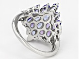 Blue Tanzanite Sterling Silver Ring 3.08ctw