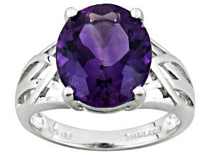 Purple Amethyst Sterling Silver Ring 3.50ct