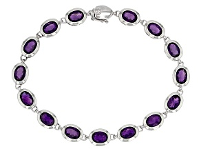 Purple Amethyst Rhodium Over Sterling Silver Tennis Bracelet 13.24ctw