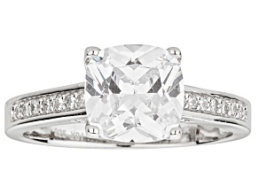 Bella Luce ® 3.35ctw Cushion Rhodium Over Sterling Silver Engagement Ring