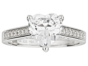 Bella Luce ® 3.40ctw Heart Shape Rhodium Over Sterling Silver Engagement Ring