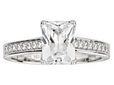 White Cubic Zirconia Radiant Cut Rhodium Over Sterling Silver Engagement Ring 3.40ctw