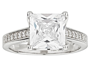 Bella Luce ® 5.60ctw Princess Cut Rhodium Over Sterling Silver Engagement Ring