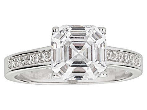 Bella Luce ® 4.75ctw Asscher Cut Rhodium Over Sterling Silver Engagement Ring