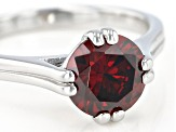 Red Cubic Zirconia Rhodium Over Sterling Silver Ring 3.31ctw