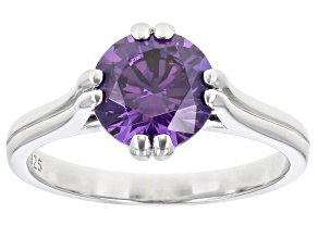 Purple Cubic Zirconia Rhodium Over Sterling Silver Ring 3.62ctw