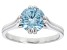 Blue Cubic Zirconia Rhodium Over Sterling Silver Ring 3.18ctw