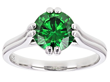 Picture of Green Cubic Zirconia Rhodium Over Sterling Silver Ring 3.32ctw