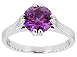 Color Change Lab Created Sapphire Rhodium Over Sterling Silver Ring 2.27ctw
