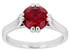 Lab Created Ruby Rhodium Over Sterling Silver Ring 2.27ctw