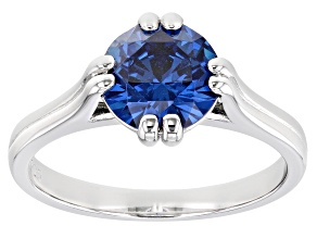 Blue Cubic Zirconia Rhodium Over Sterling Silver Ring 3.17ctw