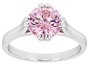 Pink Cubic Zirconia Rhodium Over Sterling Silver Ring 3.47ctw