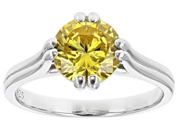 Picture of Yellow Cubic Zirconia Rhodium Over Sterling Silver Ring