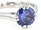 Blue Cubic Zirconia Rhodium Over Sterling Silver Ring 3.50ctw
