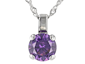 Purple Cubic Zirconia Rhodium Over Sterling Silver Pendant With Chain 3.62ctw