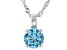Blue Cubic Zirconia Rhodium Over Sterling Silver Pendant With Chain 3.18ctw