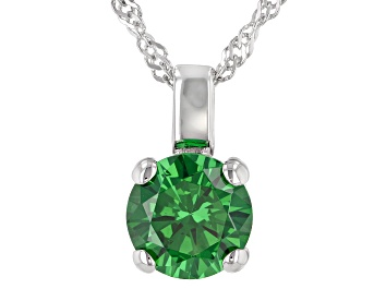 Picture of Green Cubic Zirconia Rhodium Over Sterling Silver Pendant With Chain 3.32ctw