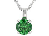 Green Cubic Zirconia Rhodium Over Sterling Silver Pendant With Chain 3.32ctw