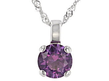 Picture of Lab Created Color Change Sapphire Rhodium Over Sterling Silver Pendant With Chain 2.27ctw